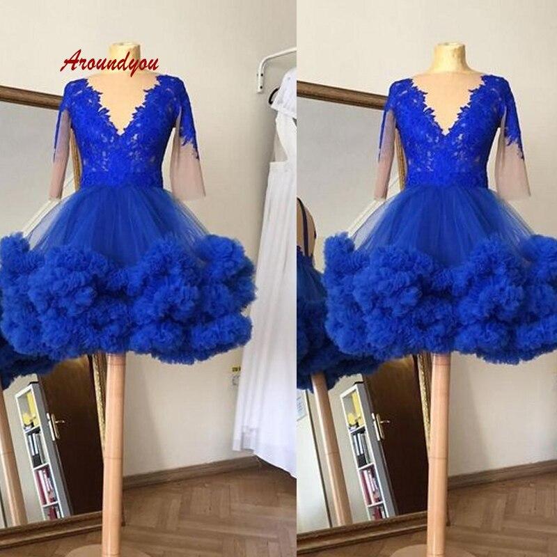 Sexy bleu Royal court robes de Cocktail fête grande taille dames femmes formelle à manches longues Graduation bal robes de retour