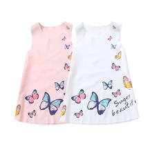 w l monsoon brand children s clothing girls dress europe and america floral children pleated princess dress cotton girl dress Girl Princess Dress New Summer Kid Girls Dress Floral Sweet Children Party Suits Butterfly Costume Children Clothing