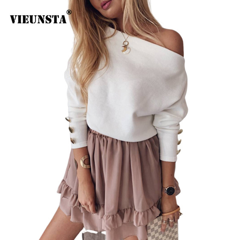 VIEUNSTA Women Sexy Off Shoulder Knit Sweater Autumn Winter Long Sleeve Button Pullover Fashion Slash Neck Solid Streetwear Tops