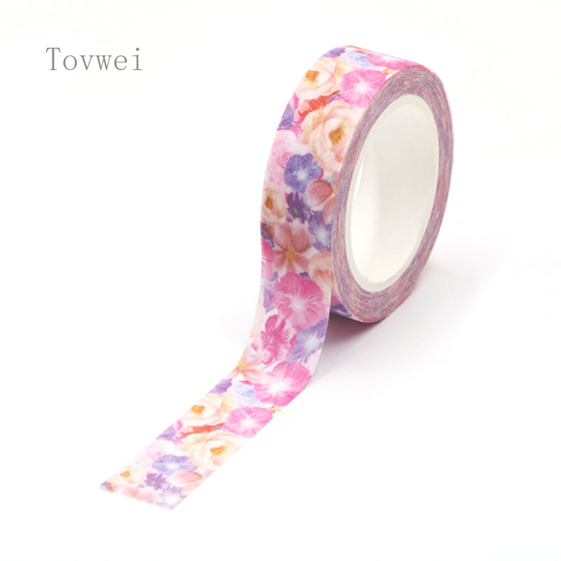 5M Glitter Flowers Washi Tape Kawaii Flower Masking Tape Decorative Tape For Sticker Scrapbooking DIY Photo Album