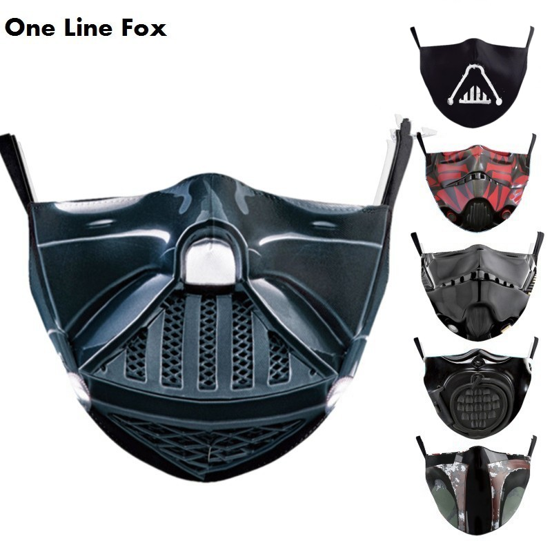 OneLineFox Protective PM2.5 Reusable Adjustable Adult Face Mask Anime Star Print Wars Washable Fabric Mask Proof Bacteria Masks