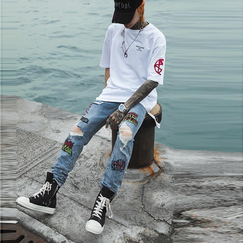 Plus Size Hole Print Pencil Pants Streetwear Graffiti Vaqueros Hombre Ripped Jeans For Men Hip Hop Skinny Jeans Trousers