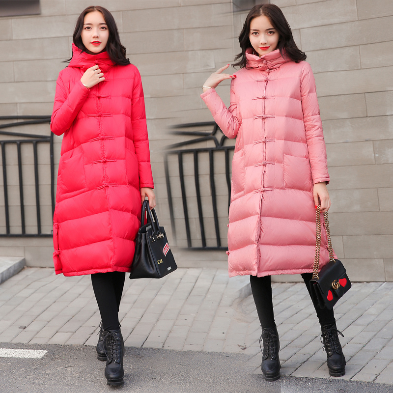 Retro Buckle Down Jacket Woman Hooded Chinese Style Red Long Down Coat Winter Parka Mujer 2020 Casacas Para Mujer KJ474