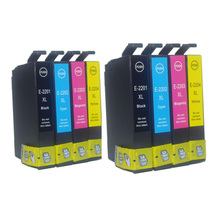 Free shipping T220xl/220 Ink Cartridge for Epson Workforce Wf-2630 Wf-2650 Wf-2660 8Packs (2 Black, 2 Cyan, 2 Magenta, 2 Yellow) epson ink container yellow