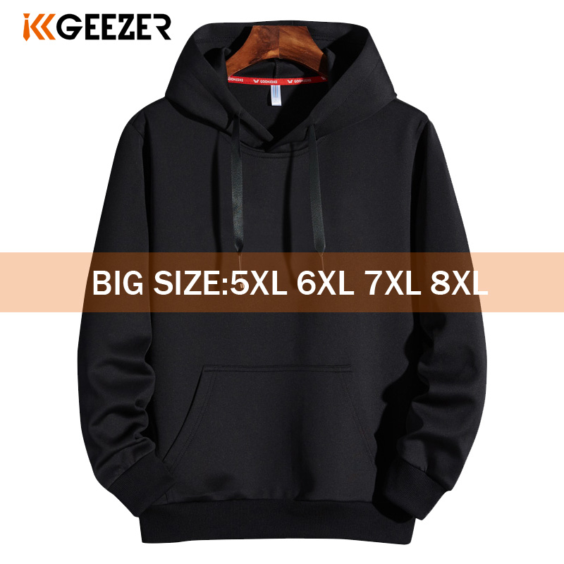 Men Hoodies 5XL 6XL 7XL 8XL Hooded Sweatshirts Men Hood Streetwear Male Black 2020 Spring Autumn Casual Solid Color Long Sleeve