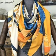 Women Silk Scarf Chain Print Square Head Scarves Wr