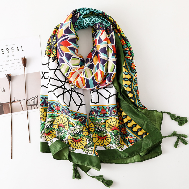 2020 Women's Cotton Material Scarf Hijab Scarf Autumn And Winter New Chinese Classic Print Blanket Scarf Lady Beach Cotton Shawl