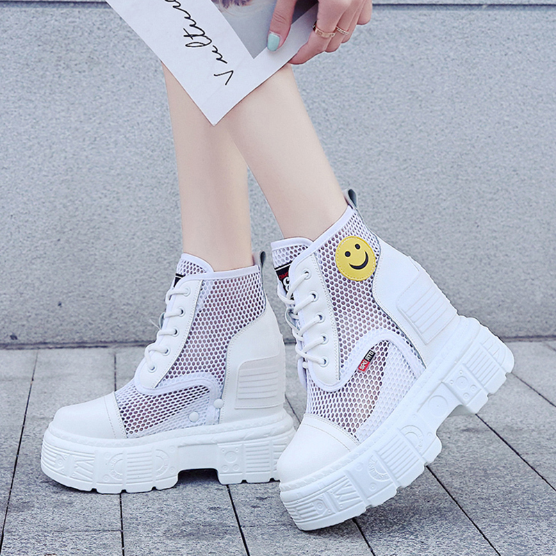 Rimocy 2020 Summer Breathable Mesh Platform Sneakers Women Fashion Wedges Heels Casual Shoes Woman Thick Sole Zapatos De Mujer