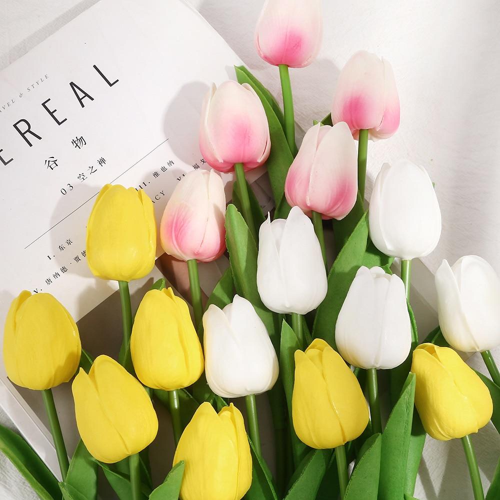 Manufacturers pu mini tulip artificial flower wedding artificial flower home decoration flower simulation plant feel tulip