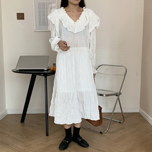 Japan Style Ladies Dresse Spring Autumn The New Korean Fashion Loose Simple Thin Best Sellers Ruffle Folds V-neck Long Sleeve