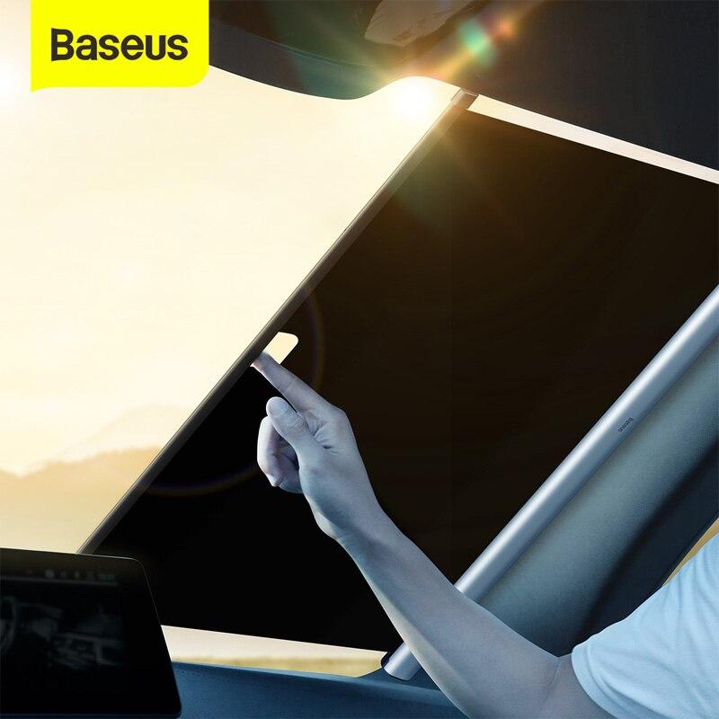 Baseus مظلة السيارات قابل للسحب الزجاج الأمامي التلقائي ظلة الستار سيارة نافذة أمامية طوي الزجاج الأمامي الشمس الظل 58/64/سم