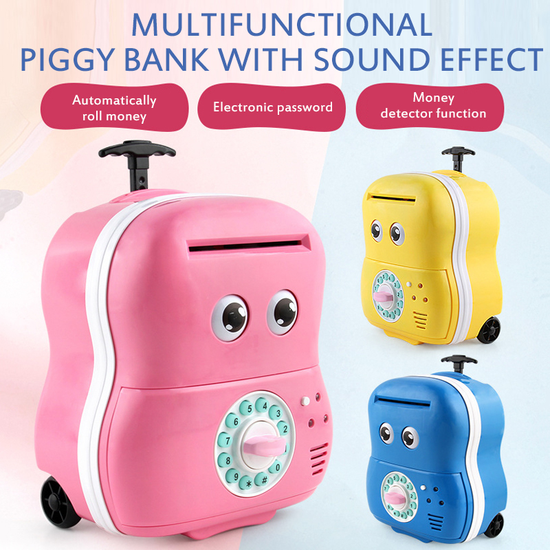 Children's Cartoon ATM Password Automatic Money Machine Coin Piggy Bank Hand Pull Suitcase Password Box Without battery toy xmas