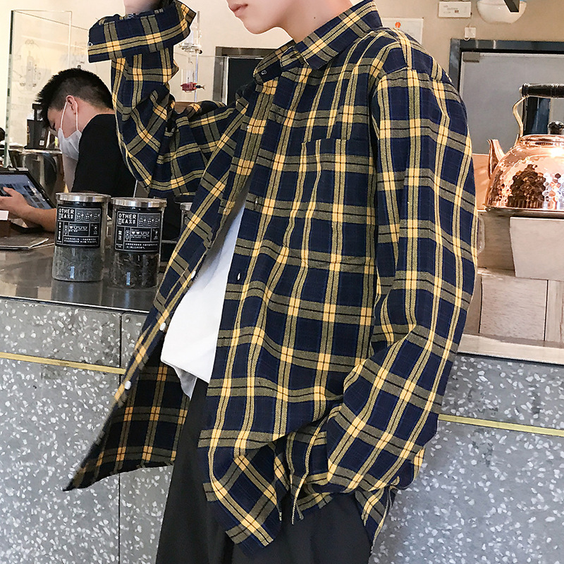 Men's Korean Plaid Print Shirt New Casual Spring Autumn Men Fashion Shirts Long Sleeve Wild Big Size Loose Casual Shirt For Male