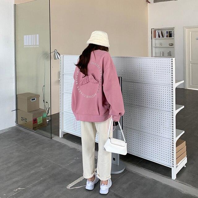 Oversized Hoodies  Harajuku Streetwear Chic Letter Print Hoodies Women Winter  Long Sleeve Hoodies kawaii Sweatshirt 4