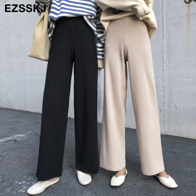 2019 Autumn Winter New Casual Straight Pants  Women Female Drawstring Loose High Waist Knitted Wide Leg Pants Casual Trousers