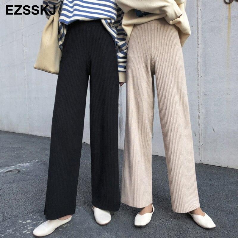 Pantalones Rectos De Punto Para Mujer Pantalon Informal De Pierna Ancha De Cintura Alta Con Cordon Casual Para Otono E Invierno 2020 Pantalones Y Pantalones Capri Aliexpress