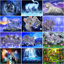 5D Diamond Painting Cross Stitch Tiger Diamond Embroidery Full Round Drill DIY Mosaic  Rhinestones Home Decor nayachic full round drill 5d diy diamond painting animal tiger embroidery cross stitch 3d diamond pictures of mosaic decor