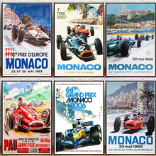 Hot Champion World Grand Prix Retro Monaco 64th Super Motor Car Poster and Prints Canvas Painting Wall Art Picture Living Room