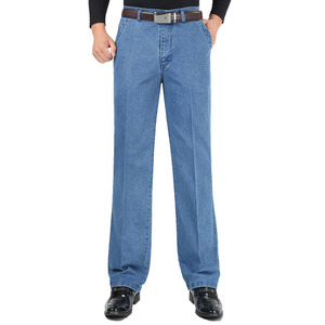 Image 3 - 남성을위한 새로운 도착 스트레치 청바지 봄 가을 남성 캐주얼 고품질 코튼 레귤러 피트 데님 바지 진한 파란색 바지 바지