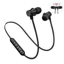 Magnetyczny bezprzewodowy zestaw słuchawkowy Bluetooth Stereo muzyka zestaw słuchawkowy z pałąkiem na kark Sport słuchawki douszne wodoodporny mikrofon dla iPhone Samsung Xiaomi Huawei