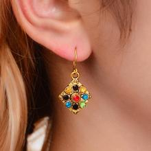 2019 Vintage Bohemian Earrings for Women Fashion Ethnic Multicolor Rhinestone Drop Eardrop Wholesale boucle doreille