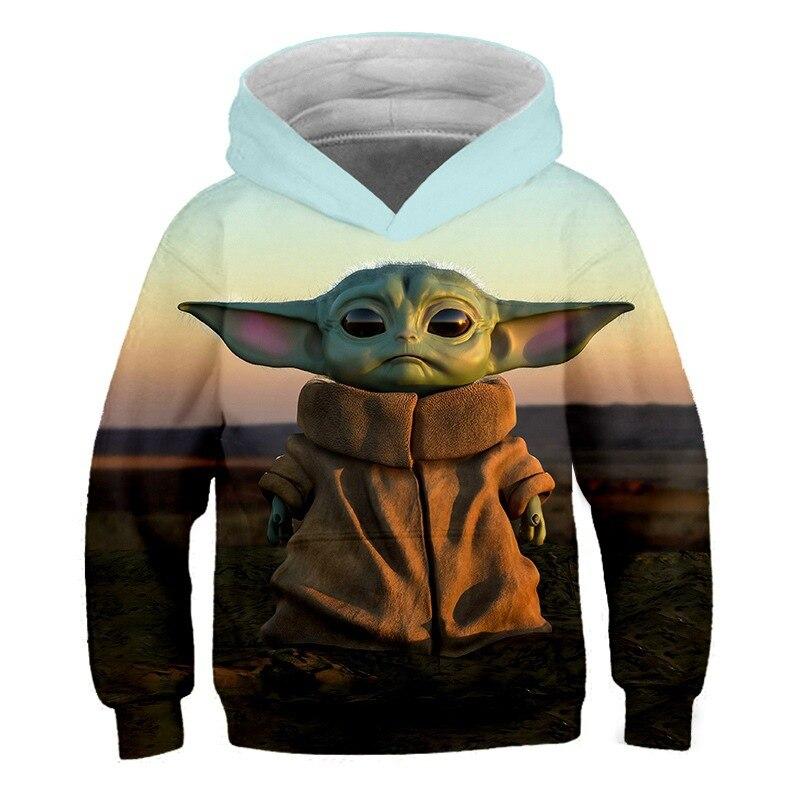 2-14 Years Child Sweatshirts Boys Hoodies Sweatshirt for Teen Girl Cloth Hot Movie Baby Yoda Grogu Sweatshirts Hip Hop Streetwer