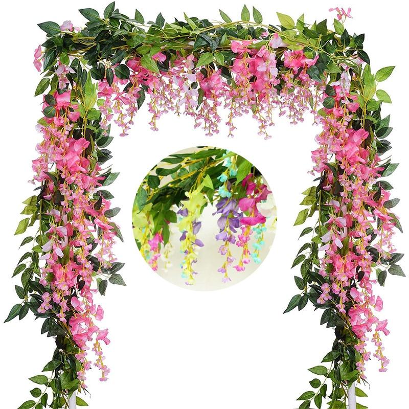 2M Wisteria Artificial Flowers Vine Garland Fake Plants Foliage Rattan Trailing Faux Flowers Ivy Wall Wedding Arch Decoration