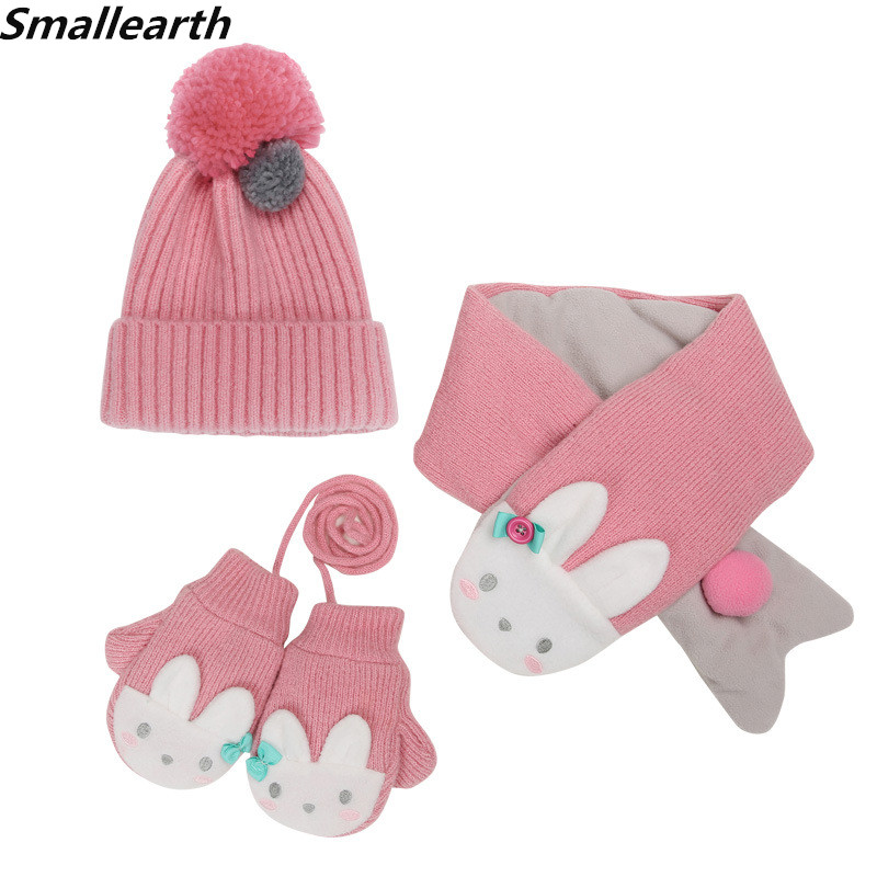New Winter Children Warm Thick Knitted Hat Scarf Glove 3pcs Set Baby Kids Plush Beanies Cap Neck Warmers Gloves Set For Boy Girl