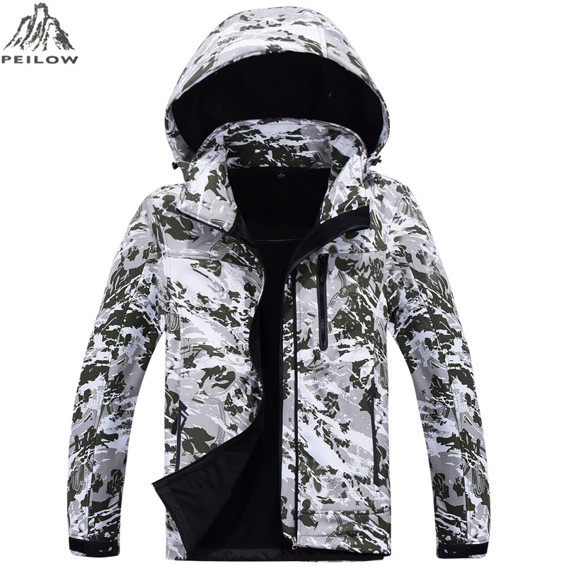 Camouflage Military Tactical Jacket  Mens Softshell Waterproof Windbreaker Winter Fleece Liner Hunt Clothes Hooded Coat Men