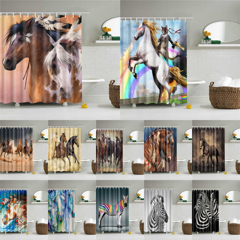 Polyester Waterproof Bath Screen Shower Curtain In The Bathroom Home Decoration Animals Horse,Zebra,Unicorn Pictures