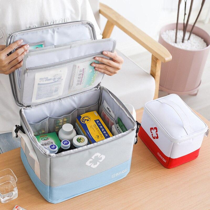 Caixa de medicina dobrável caixa de medicina de armazenamento em casa grande capacidade kit de primeiros socorros multi-funcional em camadas medicina caixa médica