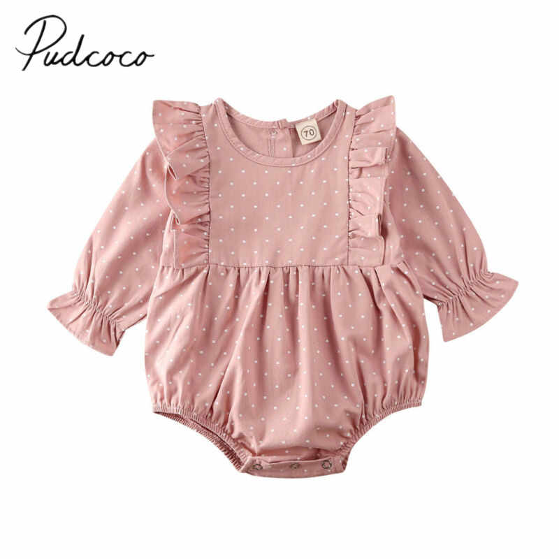 2020 Baby Spring Autumn Clothing Newborn Toddler Baby Girl Clothes Lace Long Sleeve Bodysuit Jumpsuit Infant Ruffled Dots Outfit