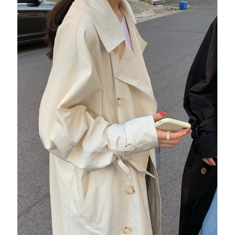 Korean Style Loose Solid Thin   Trench   Coat 2019 Autumn Women Turn-Down Collar Long Outwear Casual Windbreaker