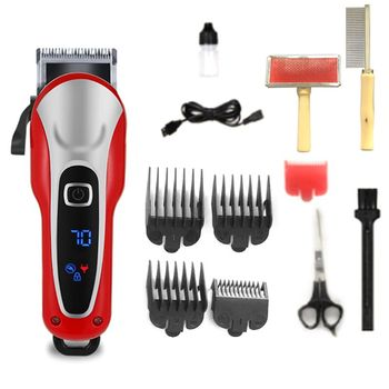 Professional Electric Hair Clippers Pet Fur Trimmer Barber Grooming Kit Rechargeable Cordless Haircut Machine Cutting Shaver professional electric hair clippers men t blade beard trimmer barber grooming kit rechargeable cordless haircut machine