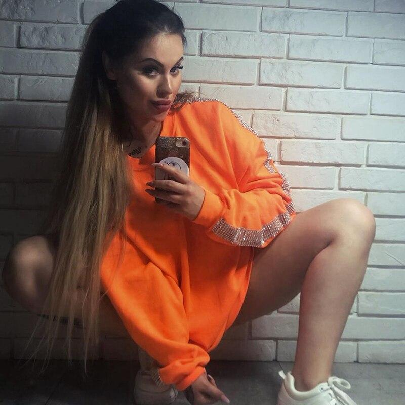 InstaHot Orange Harajuku Slit Hem Hoodies Orange Cotton Swaetshirt Women Oversize Autumn Streetwear Round Neck Casual Sweatshirt 1