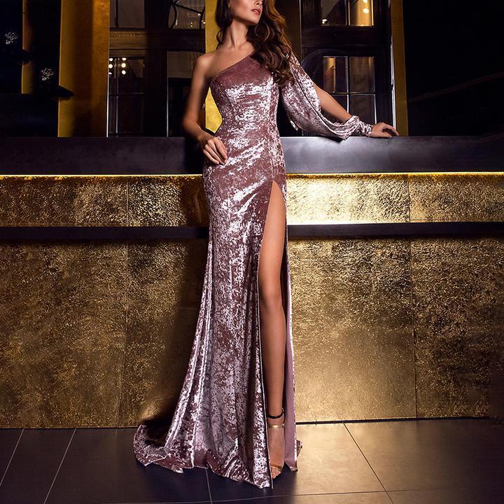 Spring Summer Long Dress Asymmetrical One Shoulder Dress Floor Length Maxi Dress Night Clubwear Sexy Dresses Party Velvet Dress
