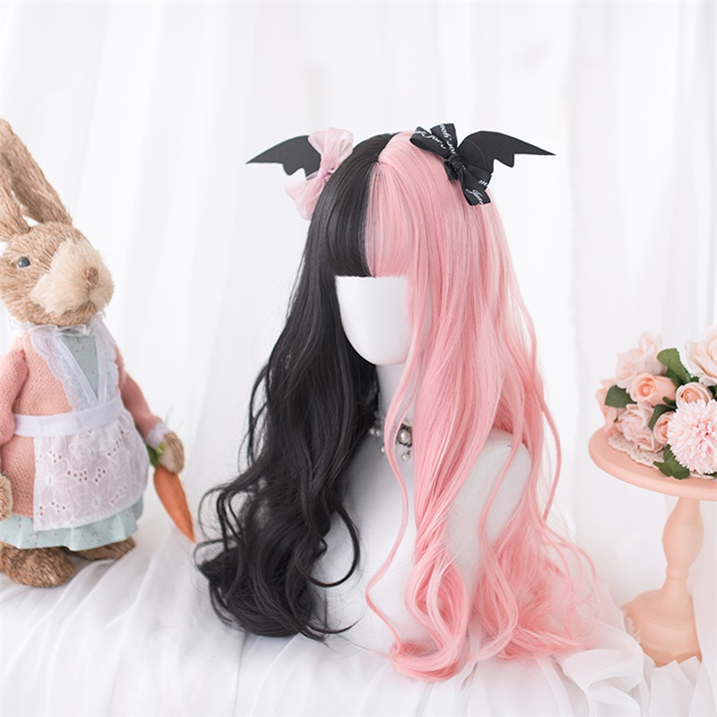 Pink Black Mixed Sweet Princess Party Cosplay Wigs Kawaii Daily Long Curly Hair Lolita Wig + Cap Harajuku 60cm Strawberry Muffin