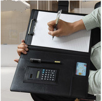 A4 Clipboard Folder With Calculator Portfolio Multi function PU Leather Organizer Sturdy Office Manager Clip Writing Pads Legal