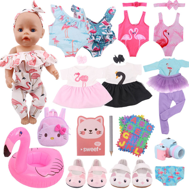 Doll Clothes Flamingo Dress Shoes Accessories For 43Cm Born Baby Fit 18 Inch American&43Cm Baby New Born Doll Reborn Girl`s Toy 2