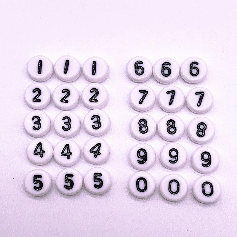 Круглые акриловые бусины с белыми цифрами, россыпью, для изготовления ювелирных украшений, браслетов, аксессуаров, 100 шт./лот, 7Х4 мм, 0-9