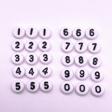 Loose-Spacer-Beads Bracelet-Accessories Numbers Jewelry-Making Acrylic DIY Round 7x4mm