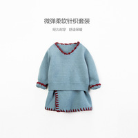 Fancy Toddler Girls Clothes Winter Long Sleeve Red Blue Sweater Set Clothing for Baby Girls Beauty Christmas Outfit Wholesale
