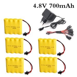 Rechargeable 4XAA Battery Pack Remote Control Toy Car Battery 4.8V 700mAh Ni-CD Battery SM-2P With 4.8V Charger 4.8V Ni-CD(China)
