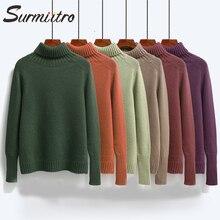 Женский теплый пуловер с воротником гольф Surmiitro, толстый вязаный свитер водолазка с длинным рукавом, зеленый кашемир джемпер для женщин на осень зима