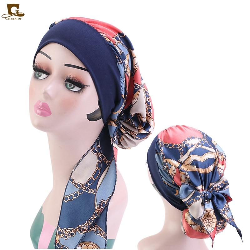 Muslim Hijab Womens Cancer Chemo Silky Flower Print Hat Turban Cap Cover Hair Loss Head Scarf Pre-Tied Headwear Strech Bandana