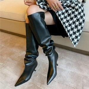 MORAZORA/сапоги из натуральной кожи размера плюс 34-43 Женская обувь высокие сапоги до колена со складками на тонком высоком каблуке осенне-зимни...