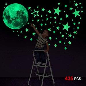3D księżyc gwiazdy energii świecące w ciemności naklejki ścienne dla naklejka do dziecięcego pokoju sufit domu wystrój Luminous fluorescencyjne na ścianę naklejki