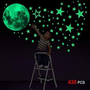 Pegatina de pared 3D Luna estrellas energía brillo en la oscuridad para Calcomanía para habitación de niños decoración del techo del hogar pegatina de pared fluorescente luminosa