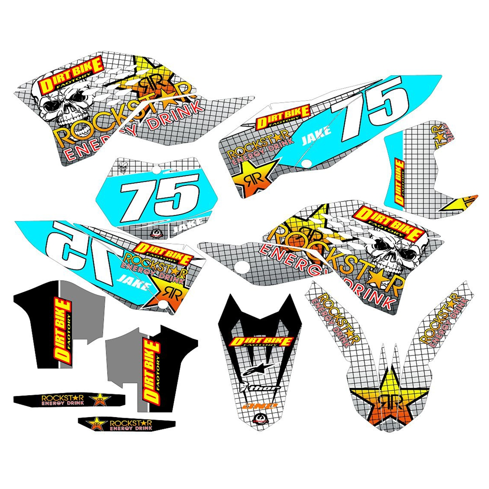 For <font><b>KTM</b></font> EXC Series <font><b>2008</b></font> 2009 2010 2011 New Full Graphics <font><b>Decals</b></font> Stickers Custom Number Name 3M Bright Stickers Waterproof image