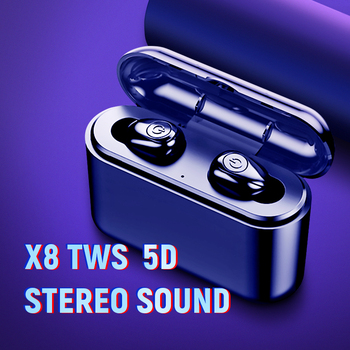 X8 TWS Bluetooth True Wireless Earphones 5D Stereo Earbuds Mini TWS Waterproof Headfrees 2200mAh Power Bank For Smart phones 1
